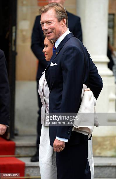 Grand Duke Henri of Luxembourg and Grand Duchess Maria Teresa of Luxembourg arrive at the Civil Wedding Ceremony of their son on September 17, 2013...