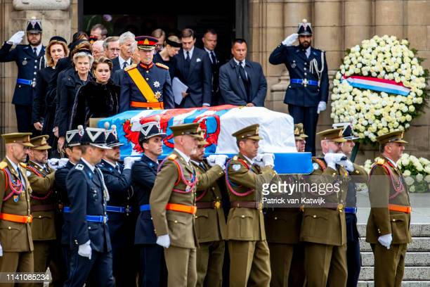 Grand Duke Henri of Luxembourg and Grand Duchess Maria Teresa of Luxembourg attend the funeral of Grand Duke Jean of Luxembourg on May 04 2019 in...
