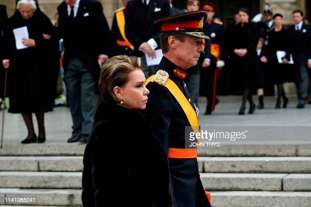 Grand Duke Henri of Luxembourg and Grand Duchess Maria Teresa of Luxembourg leave NotreDame Cathedral in Luxembourg City Grand Duchy of Luxembourg on...