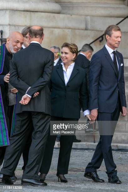 Grand Duke Henri of Luxembourg and Grand Duchess Maria Teresa of Luxembourg attend former french President Jacques Chirac's funerals at Eglise...