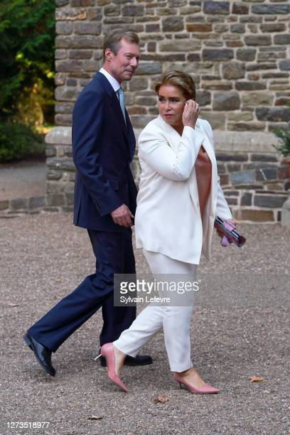 Grand Duke Henri of Luxembourg and Grand Duchess Maria Teresa of Luxembourg arrive for the baptism of Prince Charles of Luxembourg at l'Abbaye St...