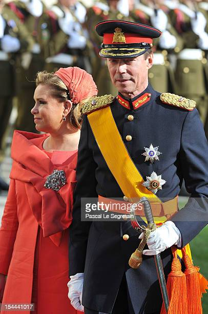 Grand Duke Henri of Luxembourg and Grand Duchess Maria Teresa of Luxembourg emerge from the Cathedral following the wedding ceremony of Prince...