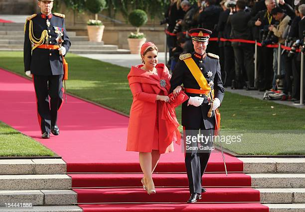 Grand Duke Henri of Luxembourg and Grand Duchess Maria Teresa of Luxembourg attend the wedding ceremony of Prince Guillaume Of Luxembourg and...