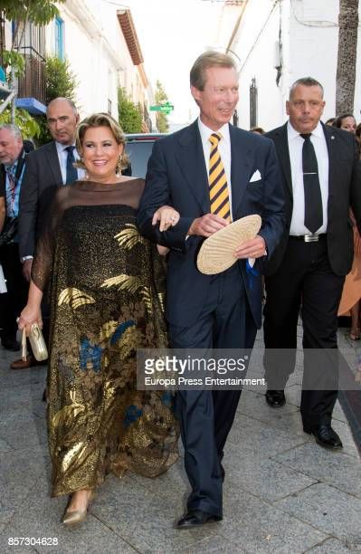 Grand Duke Henri of Luxembourg and Grand Duchess Maria Teresa of Luxembourg from The Grand Ducal Family of Luxembourg are seen attending the wedding...