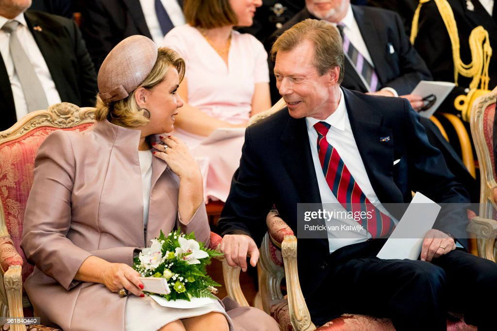 Grand Duke Henri of Luxembourg and Grand Duchess Maria Teresa of Luxembourg during their visit to the Town Hall of Luxembourg on May 23, 2018 in Luxembourg, Luxembourg. The Dutch King and Queen are in Luxembourg for an three day state visit