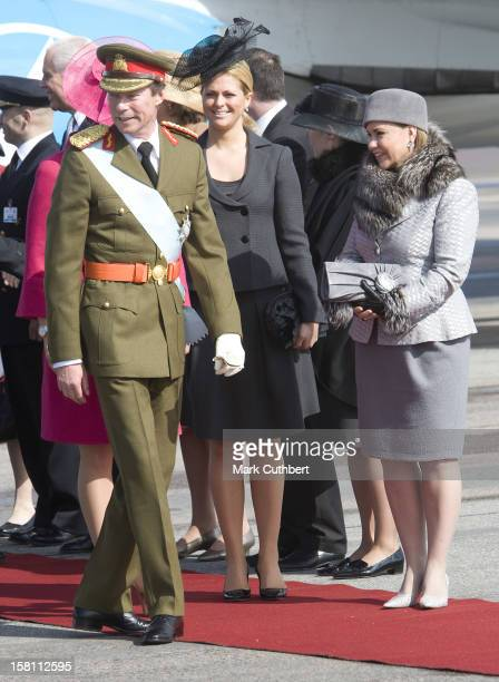 Grand Duke Henri Of Luxembourg And Grand Duchess Maria Theresa Of Luxembourg Are Greeted By Crown Princess Victoria Of Sweden And Princess Madeleine...
