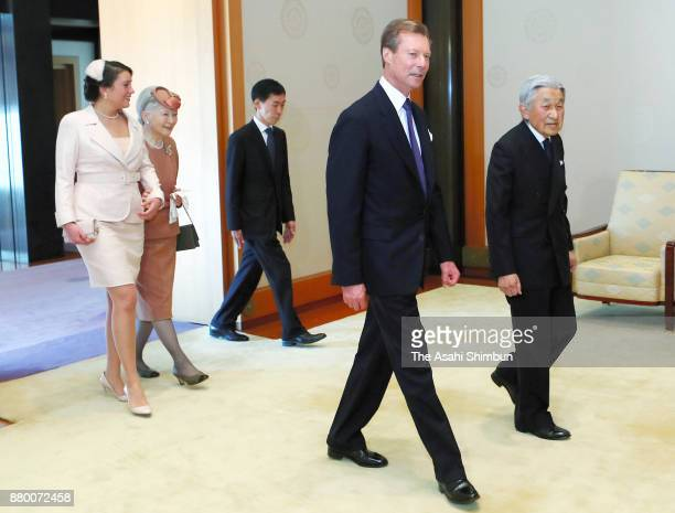 Grand Duke Henri of Luxembourg and his daughter Princess Alexandra of Luxembourg are escorted by Emperor Akihito and Empress Michiko prior to their...
