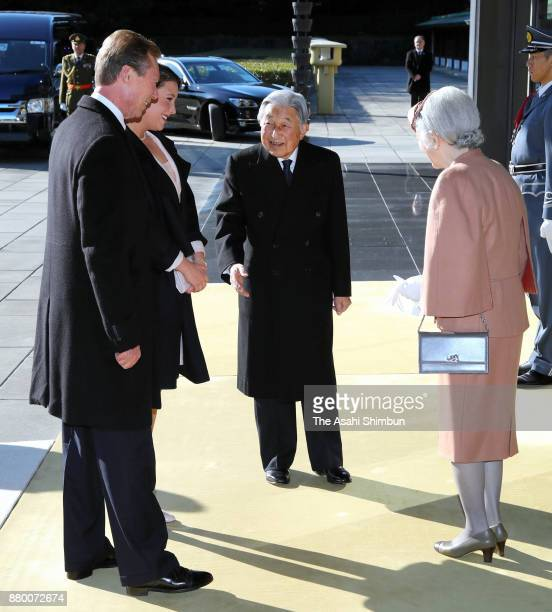 Grand Duke Henri of Luxembourg and his daughter Princess Alexandra of Luxembourg are welcomed by Emperor Akihito and Empress Michiko prior to the...
