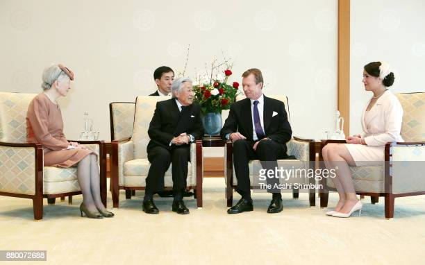 Grand Duke Henri of Luxembourg and his daughter Princess Alexandra of Luxembourg talk with Emperor Akihito and Empress Michiko during their meeting...