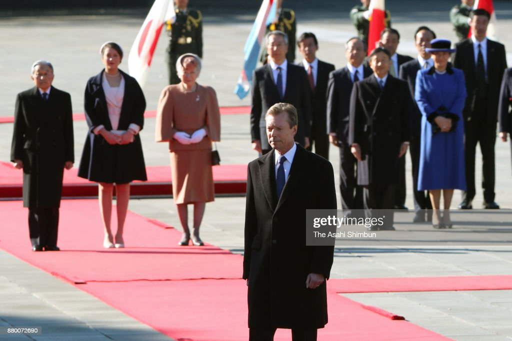 Grand Duke Henri of Luxembourg and his daughter Princess Alexandra of Luxembourg attend the welcome ceremony with Emperor Akihito and Empress Michiko at the Imperial Palace on November 27, 2017 in Tokyo, Japan.