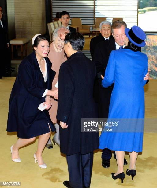Grand Duke Henri of Luxembourg and his daughter Princess Alexandra of Luxembourg greet with Crown Prince Naruhito and Crown Princess Masako while...