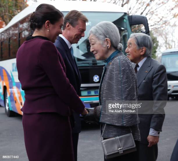 Grand Duke Henri of Luxembourg and his daughter Princess Alexandra of Luxembourg are seen off by Emperor Akihito and Empress Michiko at the Japan...