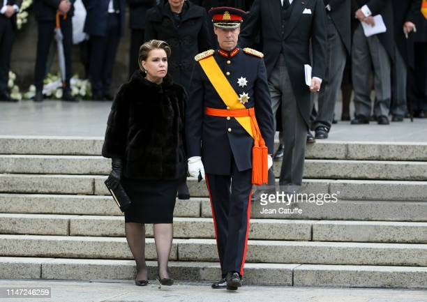 Grand Duke Henri of Luxembourg and his wife Grand Duchess Maria Teresa of Luxembourg during the funerals of Grand Duke Jean of Luxembourg at...
