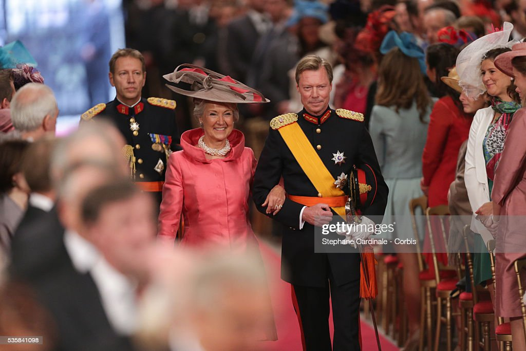 Grand Duke Henri of Luxembourg and Lydia de Schaetzen arrive to attend the wedding ceremony of Prince Guillaume of Luxembourg and Stephanie de Lannoy at the Cathedral of our Lady of Luxembourg, in Luxembourg.