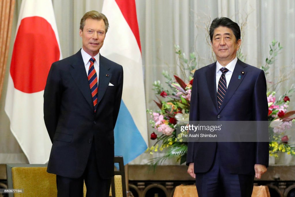 Grand Duke Henri of Luxembourg and Prime Minister Shinzo Abe hold talks at Abe's official residence on November 28, 2017 in Tokyo, Japan.