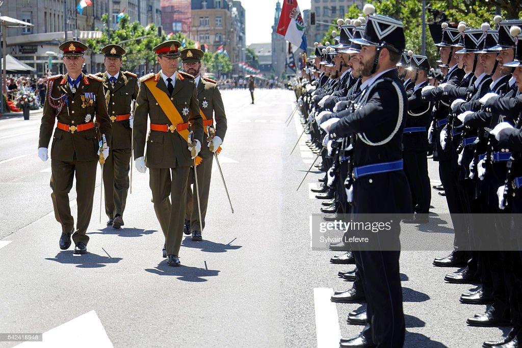 Grand Duke Henri of Luxembourg and Prince Guillaume of Luxembourg during the Military parade for celebration of National Day 2 at Philarmonie on June 23, 2016 in Luxembourg, Luxembourg.