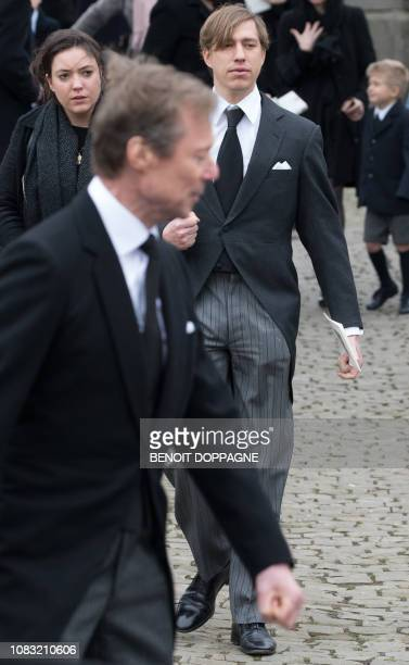 Grand Duke Henri of Luxembourg and Prince Louis of Luxembourg pictured after the funeral service for Count Philippe de Lannoy at FrasnesLezAnvaing...