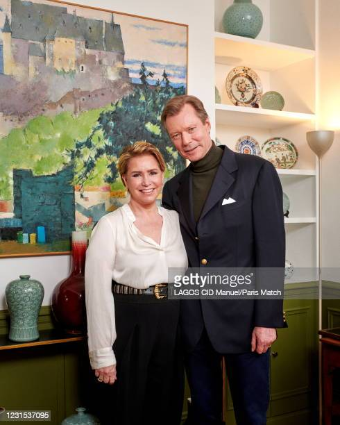Grand Duke Henri of Luxembourg and the Grand Duchess Maria Teresa are photographed for Paris Match at home in Colmar-Berg in Luxembourg on January...