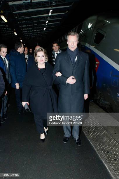 Grand Duke Henri of Luxembourg and the Grand Duchess Maria Theresa of Luxembourg arrive for their State visit to France on March 18 2018 in Paris...