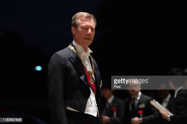 Grand Duke Henri of Luxembourg arrives at the Imperial Palace for the Court Banquets after the Ceremony of the Enthronement of Emperor Naruhito on...