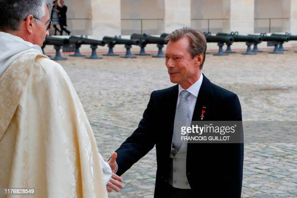 Grand Duke Henri of Luxembourg arrives to attend the wedding of prince Napoleon and Countess Olympia ArcoZinneberg at the SaintLouisdesInvalides...