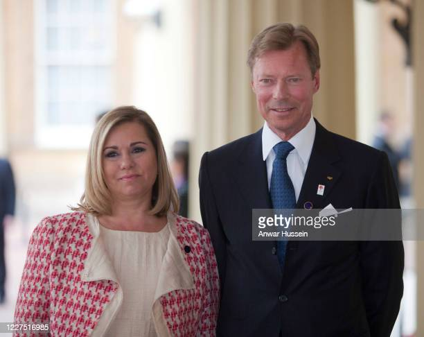 Grand Duke Henri of Luxembourg arrives with Maria Teresa, Grand Duchess of Luxembourg for a London 2012 Olympic Games reception at Buckingham Palace...