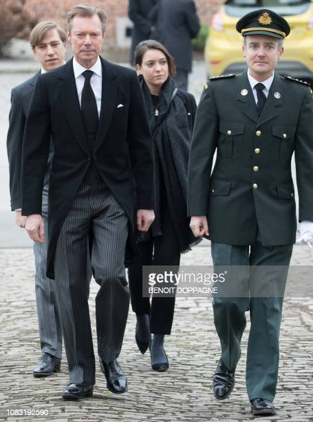 Grand Duke Henri of Luxembourg attends the funeral service for Count Philippe de Lannoy at FrasnesLezAnvaing Wednesday 16 January 2019 The Count died...