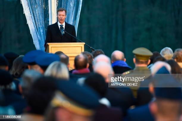 Grand Duke Henri of Luxembourg delivers a speech at the commemoration of the 75th anniversary of the Battle of the Bulge on December 16 in Luxembourg...