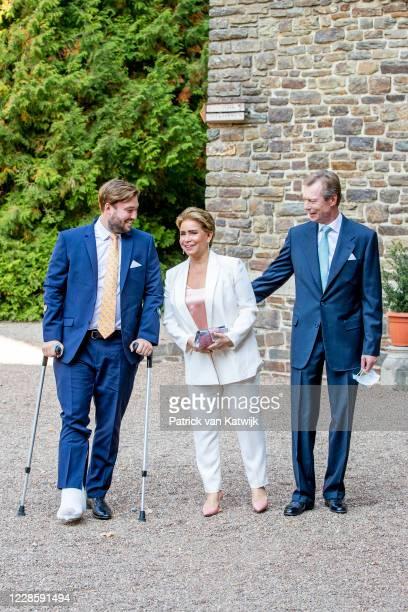 Grand Duke Henri of Luxembourg, Grand Duchess Maria Teresa of Luxembourg and Prince Sebastien of Luxembourg at the baptism ceremony of Prince Charles...