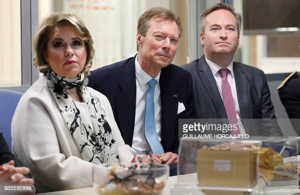 Grand Duke Henri of Luxembourg Grand Duchess MariaTeresa and French Junior Minister for Foreign Affairs JeanBaptiste Lemoyne visit the National...