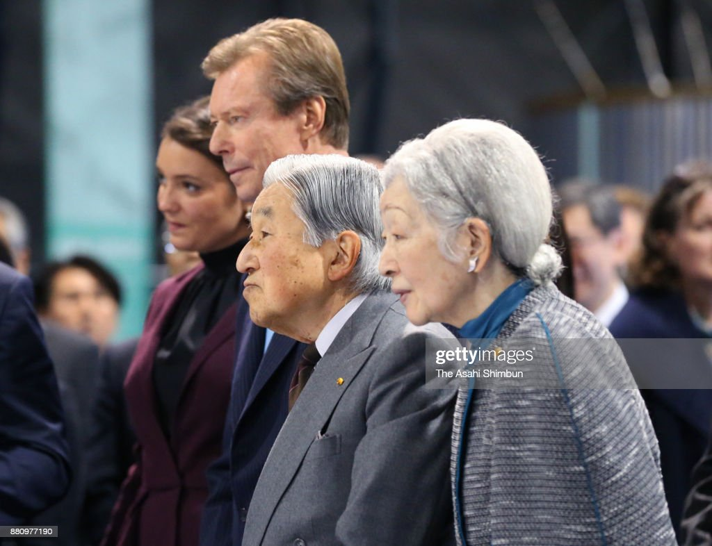 Grand Duke Henri of Luxembourg, his daughter Princess Alexandra of Luxembourg, Emperor Akihito and Empress Michiko listen to the explanation during their visit to the Japan Aerospace Exploration Agency (JAXA) Tsukuba Space Center on November 28, 2017 in Tsukuba, Ibaraki, Japan.