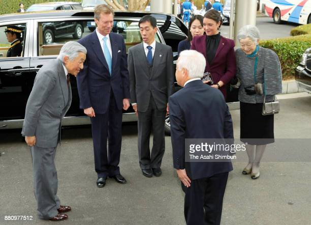 Grand Duke Henri of Luxembourg his daughter Princess Alexandra of Luxembourg Emperor Akihito and Empress Michiko are see on arrival at the Japan...