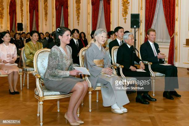 Grand Duke Henri of Luxembourg his daughter Princess Alexandra of Luxembourg Emperor Akihito Empress Michiko and Japanese royal family members attend...