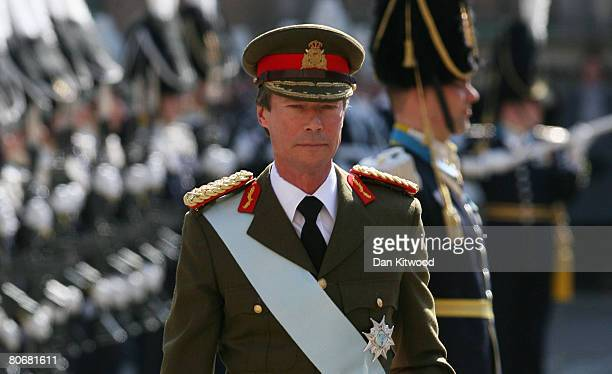 Grand Duke Henri of Luxembourg inspects the Guard Of Honour at the Royal Palace on the first day of a three day state visit to Stockholm on April 15...