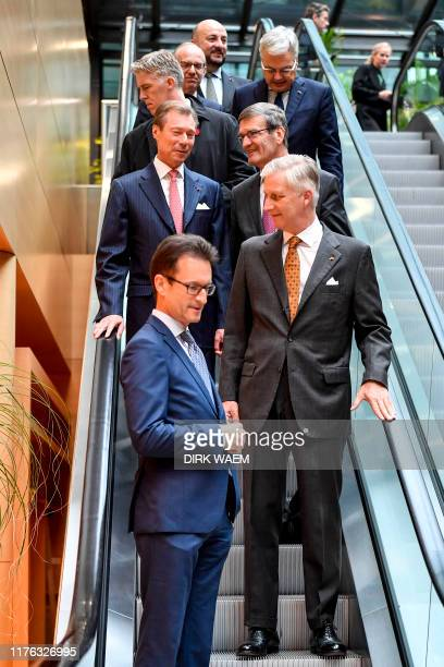 Grand Duke Henri of Luxembourg King Philippe Filip of Belgium and FEBVBO President Bernard Gilliot pictured during a seminar on the third and last...