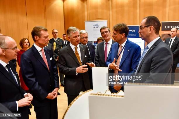 Grand Duke Henri of Luxembourg King Philippe Filip of Belgium FEBVBO President Bernard Gilliot and Besix CEO Rik Vandenberghe pictured during a...