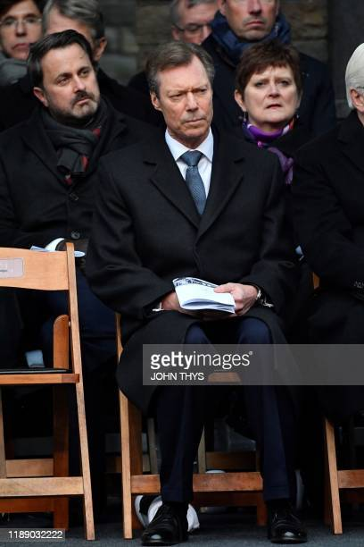 Grand Duke Henri of Luxembourg looks on as he attends a ceremony at The Mardasson Memorial in Bastogne on December 16 as part of the commemorations...