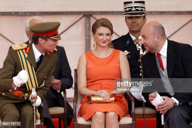 Grand Duke Henri of Luxembourg Princess Stephanie and Defense Minister Etienne Schneider attend National Day parade on June 23 2017 in Luxembourg...