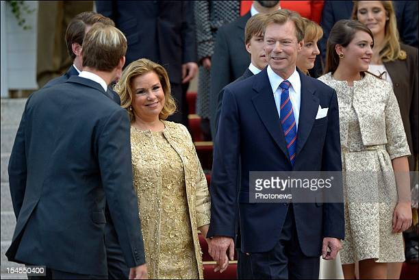 Grand Duke Henri of Luxembourg with Grand Duchess Maria Teresa of Luxembourg during the civil wedding ceremony of Prince Guillaume Of Luxembourg and...