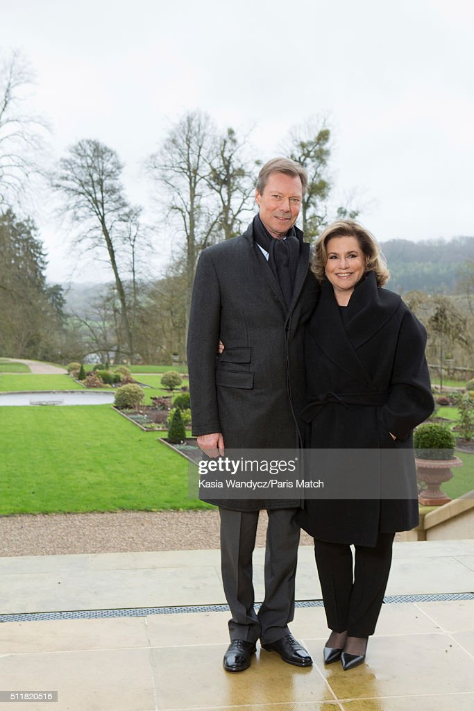 Grand Duke Henri of Luxembourg with his wife Maria Teresa are photographed for Paris Match on February 10, 2016 in Colmarberg castle, Luxembourg.