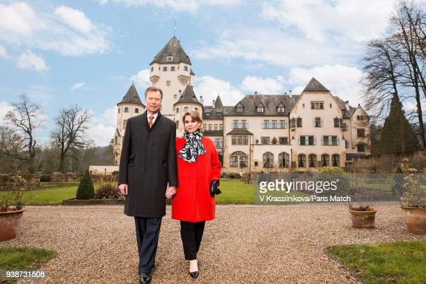 Grand Duke Henri of Luxembourg with his wife Maria Teresa are photographed for Paris Match in the grounds of Castle Colmarberg on March 09 2018 in...