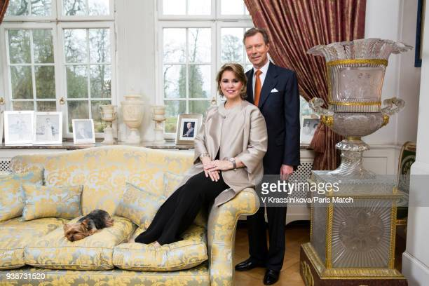 Grand Duke Henri of Luxembourg with his wife Maria Teresa are photographed for Paris Match in the Acajou living room of Castle Colmarberg on March 09...