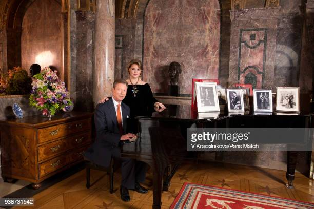 Grand Duke Henri of Luxembourg with his wife Maria Teresa are photographed for Paris Match in Castle Colmarberg on March 09 2018 in Colmarberg...