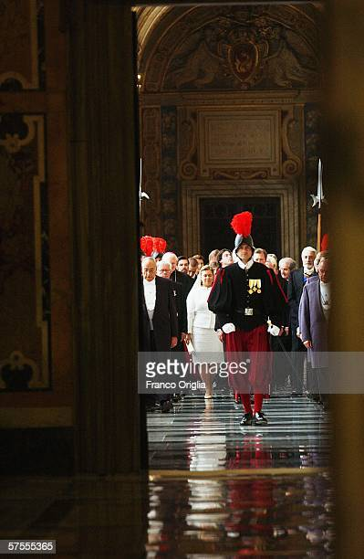 Grand Duke Henri of Luxemburg and Grand Duchess MariaTeresa of Luxemburg arrive at Vatican for a meeting with Pope Benedict XV May 8 in Vatican City