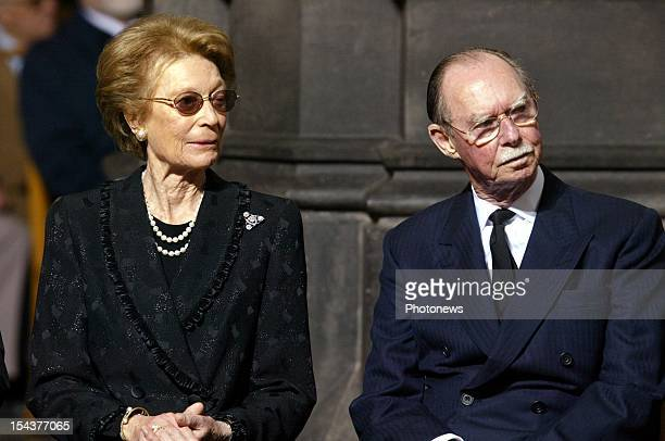 Grand Duke Jean and Grand Duchess Josephine Charlotte of Luxembourg at the funeral of Princess Liliane de Rethy of Belgium