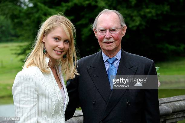 Grand Duke Jean of Luxembourg and his granddaughter Marie-Christine, Countess of Limburg-Stirum at her betrothal to Count Rodolphe Limburg de Stirum...