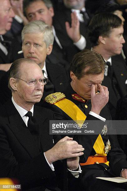 HRH Grand Duke Jean of Luxembourg and HRH Grand Duke Henri of Luxembourg during the funeral of Grand Duchess of Luxembourg JosephineCharlotte...