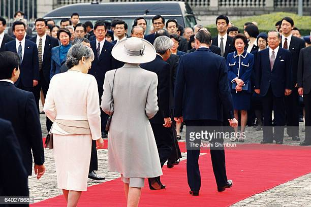 Grand Duke Jean of Luxembourg, Grand Duchess Josephine Charlotte of Luxembourg, Emperor Akihito and Empress Michiko leave for the Imperial Palace...