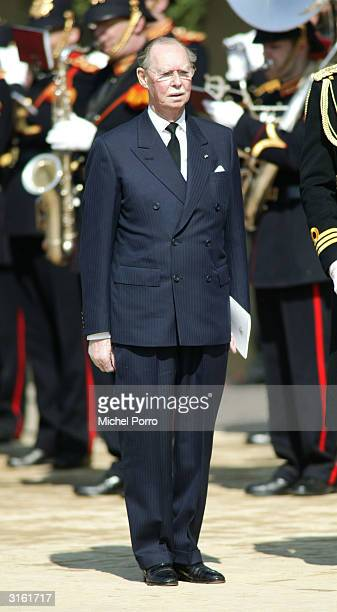 Grand Duke Jean of Luxembourg leaves the funeral for the Queen Mother Princess Juliana at Nieuwe Kerk on March 30 2004 in Delft The Netherlands...