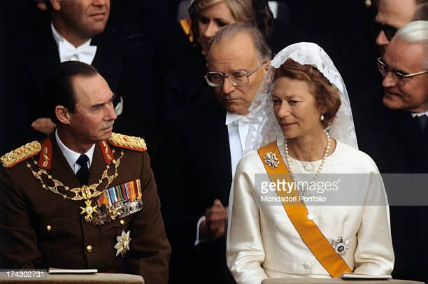 Grand Duke Jean of Luxembourg sitting next to his wife Princess Josèphine-Charlotte of Belgium during the funeral of Pope Paul VI. Vatican City,...